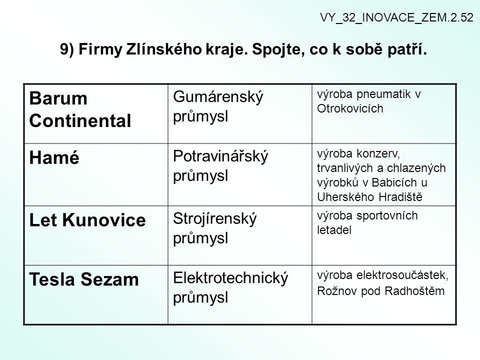 9) Firmy Zlínského kraje. Spojte, co k sobě patří.