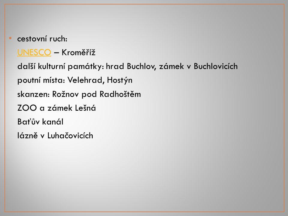 cestovní ruch: UNESCO – Kroměříž. další kulturní památky: hrad Buchlov, zámek v Buchlovicích. poutní místa: Velehrad, Hostýn.