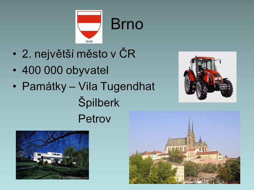 Brno 2. největší město v ČR 400 000 obyvatel Památky – Vila Tugendhat