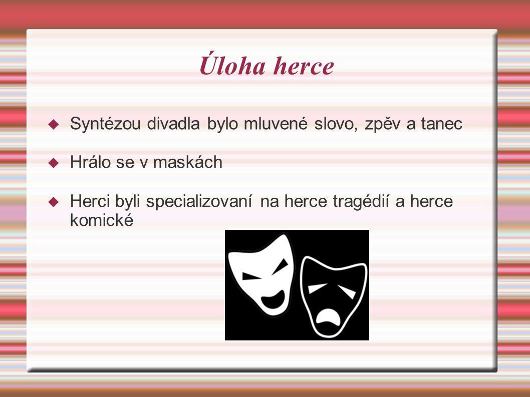 Úloha herce Syntézou divadla bylo mluvené slovo, zpěv a tanec