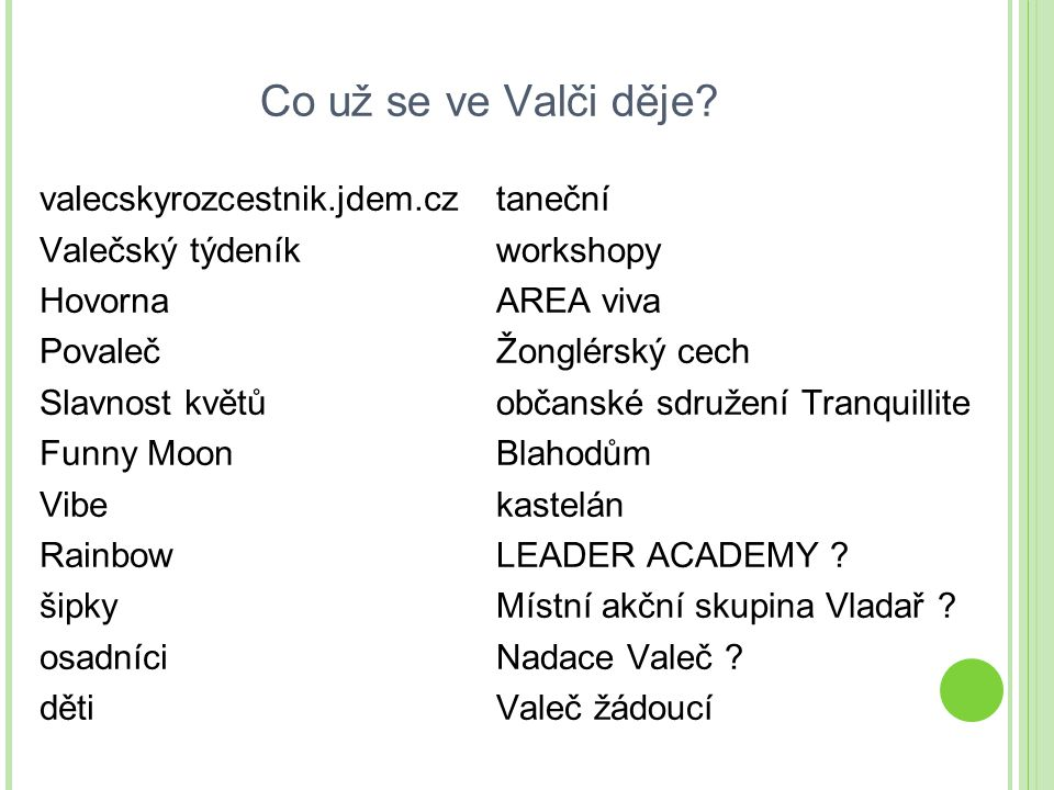 Co už se ve Valči děje valecskyrozcestnik.jdem.cz Valečský týdeník