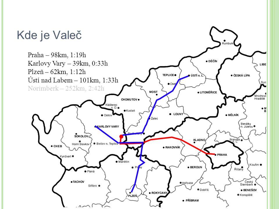 Kde je Valeč Praha – 98km, 1:19h Karlovy Vary – 39km, 0:33h