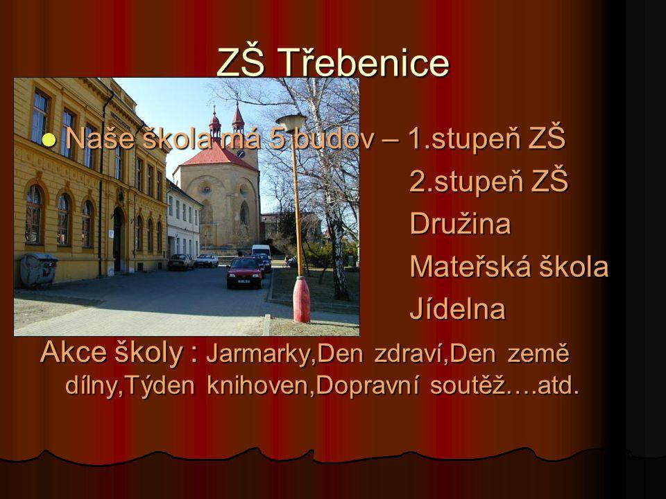 ZŠ Třebenice Naše škola má 5 budov – 1.stupeň ZŠ 2.stupeň ZŠ Družina