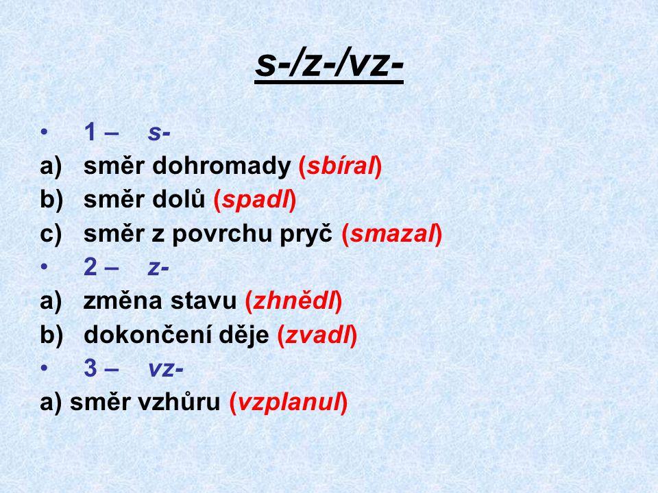 s-/z-/vz- 1 – s- směr dohromady (sbíral) směr dolů (spadl)