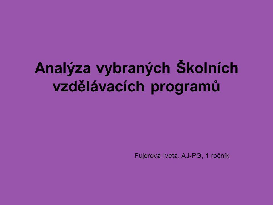 Analýza vybraných Školních vzdělávacích programů