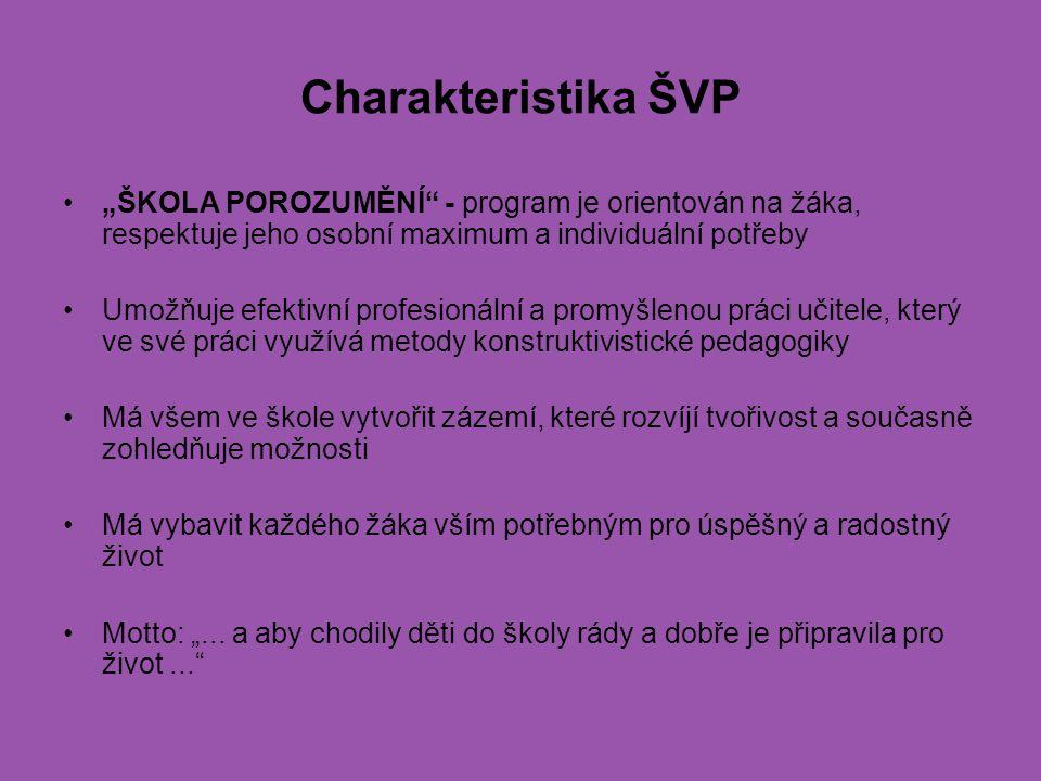 """Charakteristika ŠVP """"ŠKOLA POROZUMĚNÍ - program je orientován na žáka, respektuje jeho osobní maximum a individuální potřeby."""