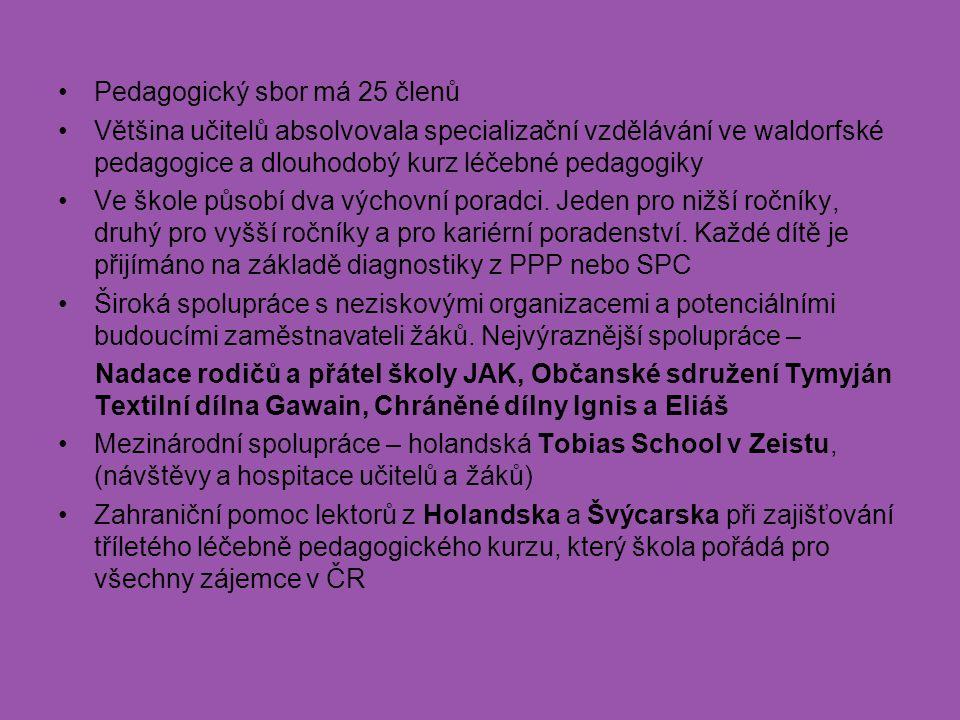 Pedagogický sbor má 25 členů