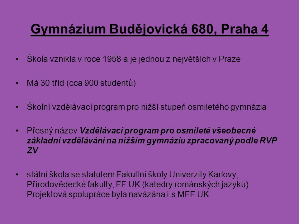 Gymnázium Budějovická 680, Praha 4