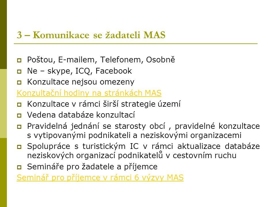 3 – Komunikace se žadateli MAS