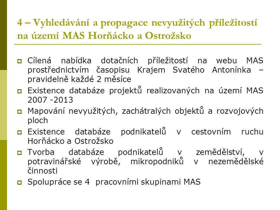 4 – Vyhledávání a propagace nevyužitých příležitostí na území MAS Horňácko a Ostrožsko
