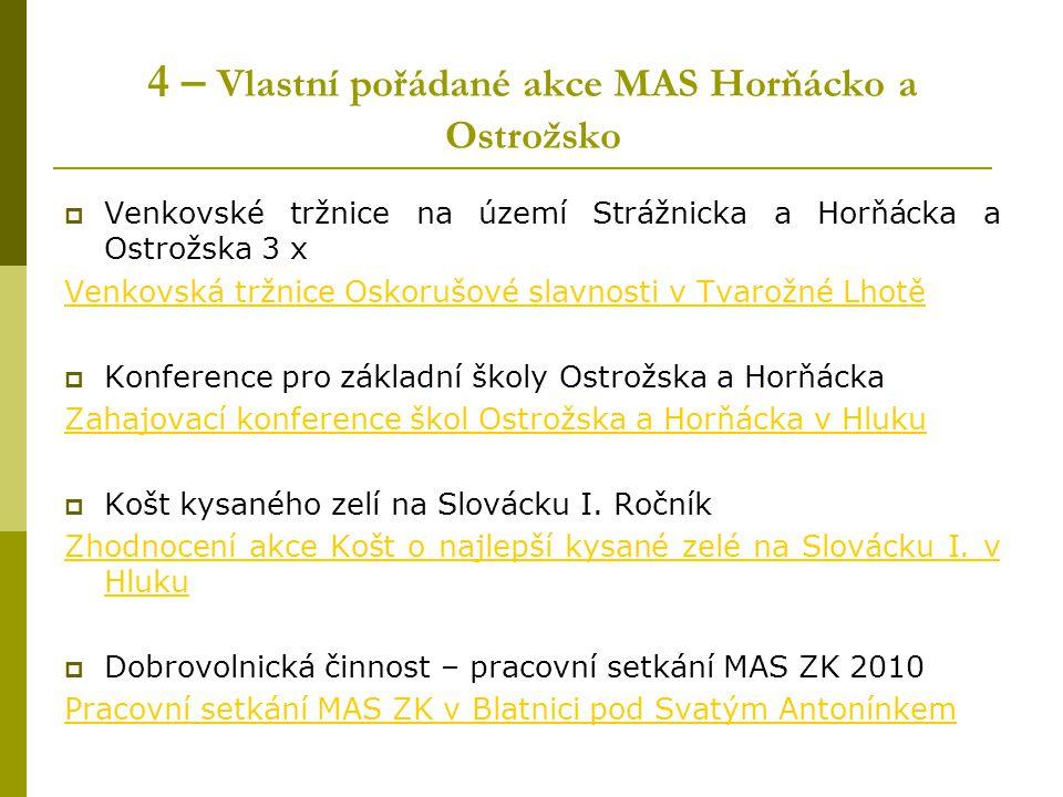 4 – Vlastní pořádané akce MAS Horňácko a Ostrožsko