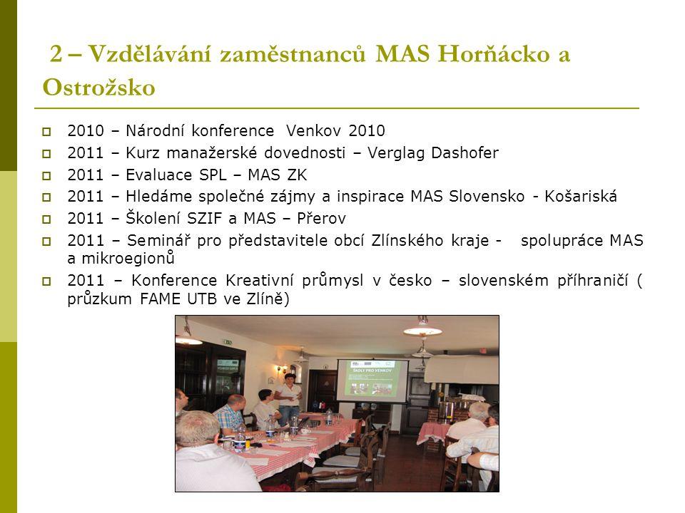 2 – Vzdělávání zaměstnanců MAS Horňácko a Ostrožsko