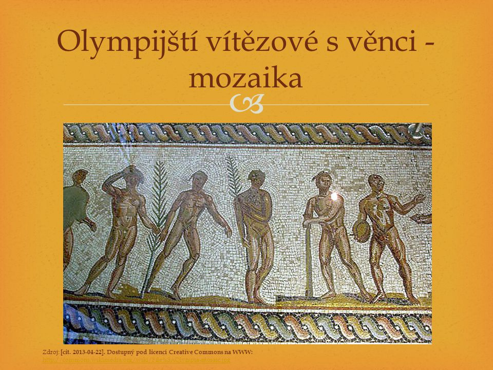 Olympijští vítězové s věnci - mozaika