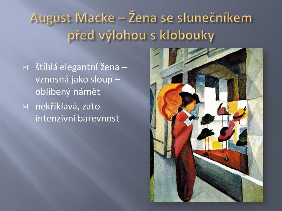 August Macke – Žena se slunečníkem před výlohou s klobouky