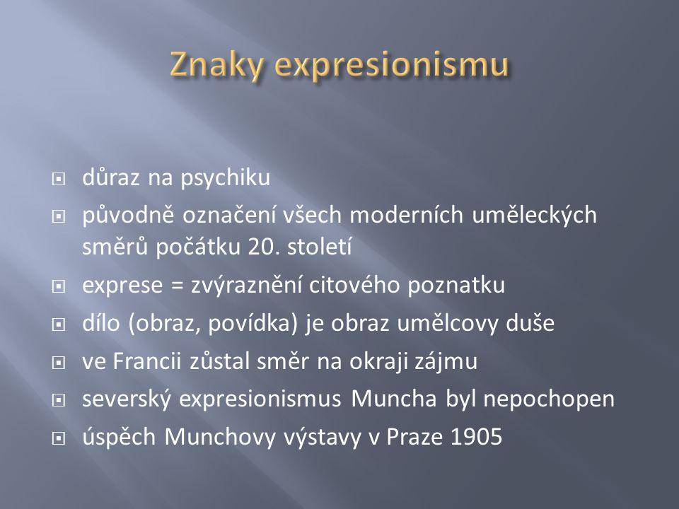 Znaky expresionismu důraz na psychiku