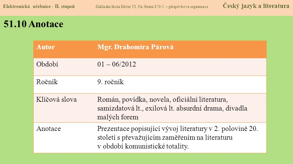 51.10 Anotace Autor Mgr. Drahomíra Párová Období 01 – 06/2012 Ročník