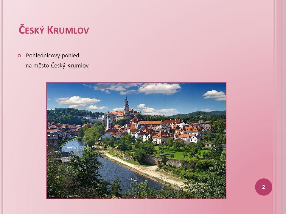 Český Krumlov Pohlednicový pohled na město Český Krumlov.