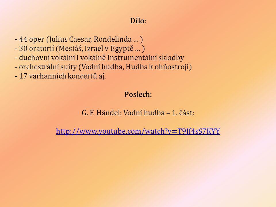 G. F. Händel: Vodní hudba – 1. část: