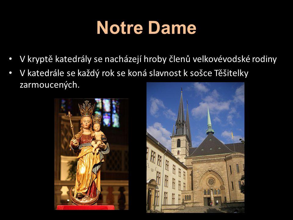Notre Dame V kryptě katedrály se nacházejí hroby členů velkovévodské rodiny.