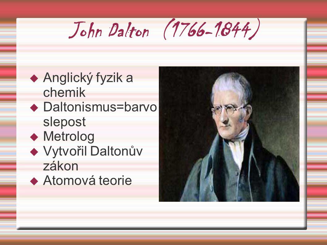 John Dalton (1766-1844) Anglický fyzik a chemik
