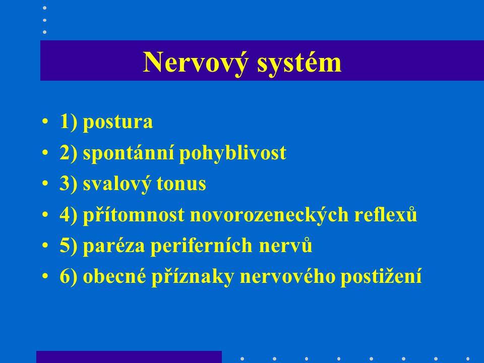 Nervový systém 1) postura 2) spontánní pohyblivost 3) svalový tonus