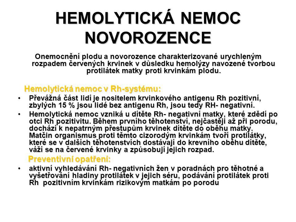HEMOLYTICKÁ NEMOC NOVOROZENCE