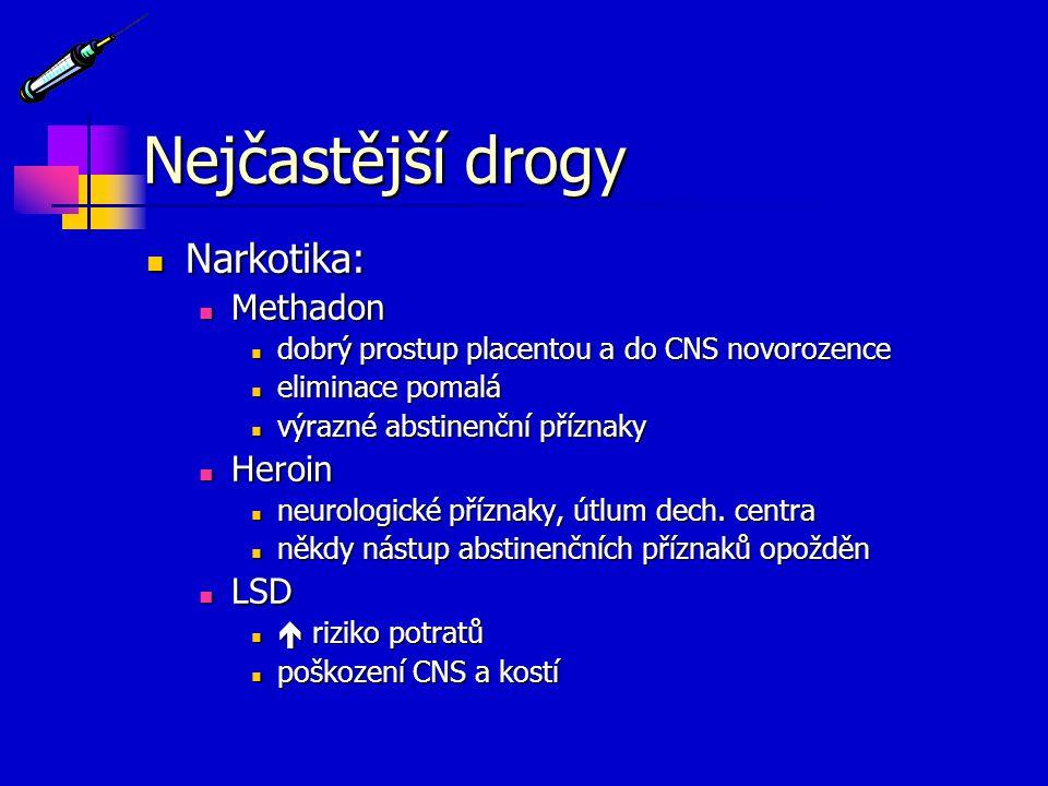 Nejčastější drogy Narkotika: Methadon Heroin LSD