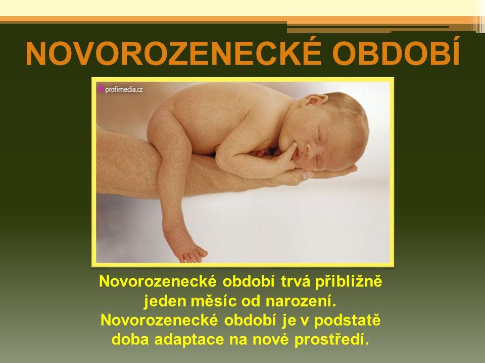 NOVOROZENECKÉ OBDOBÍ Novorozenecké období trvá přibližně