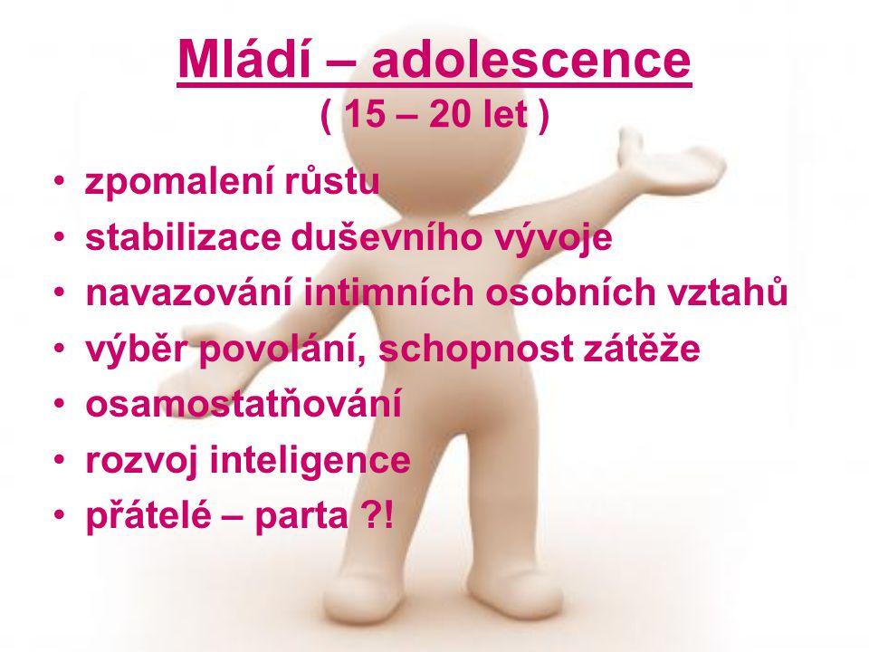 Mládí – adolescence ( 15 – 20 let )