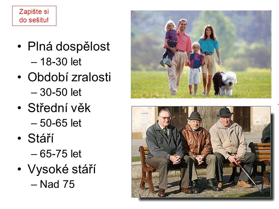 Plná dospělost Období zralosti Střední věk Stáří Vysoké stáří