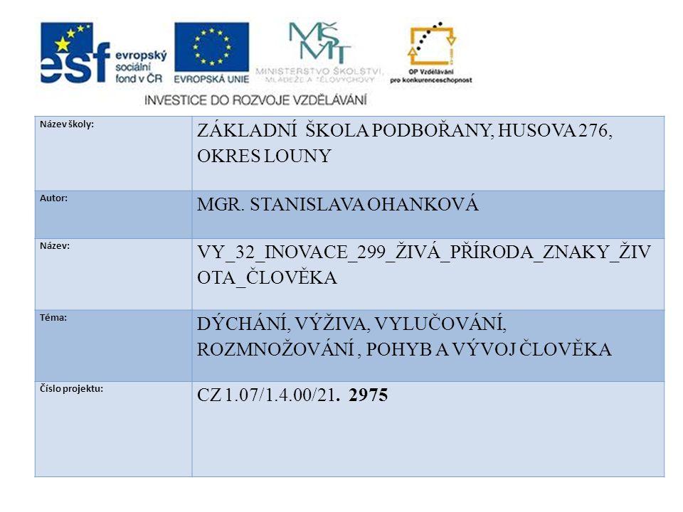 ZÁKLADNÍ ŠKOLA PODBOŘANY, HUSOVA 276, OKRES LOUNY