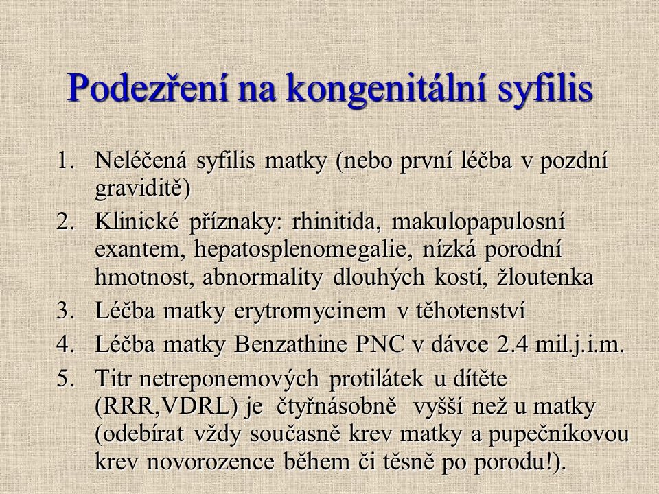 Podezření na kongenitální syfilis