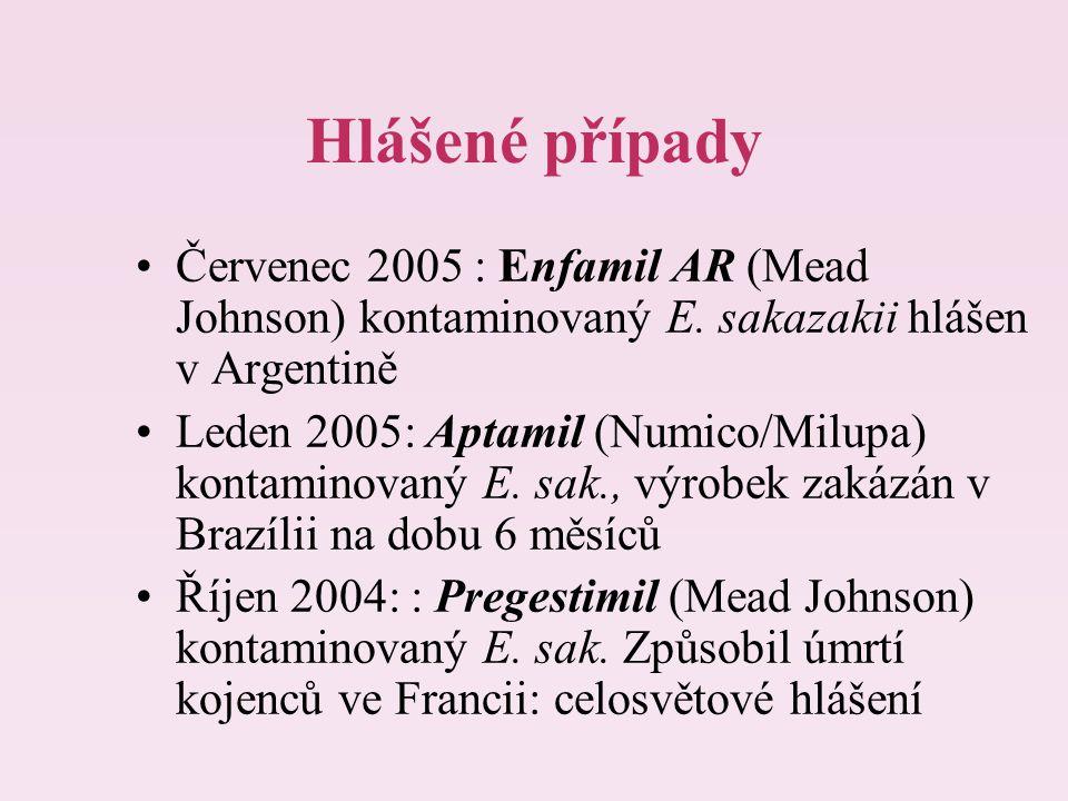 Hlášené případy Červenec 2005 : Enfamil AR (Mead Johnson) kontaminovaný E. sakazakii hlášen v Argentině.
