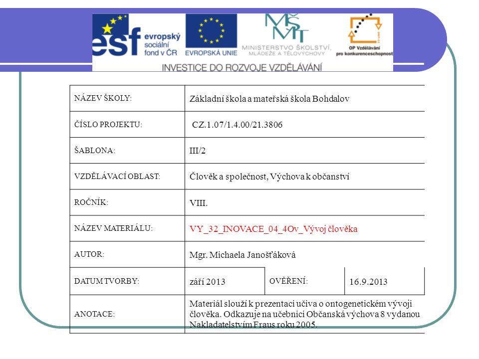 Základní škola a mateřská škola Bohdalov CZ.1.07/1.4.00/21.3806 III/2