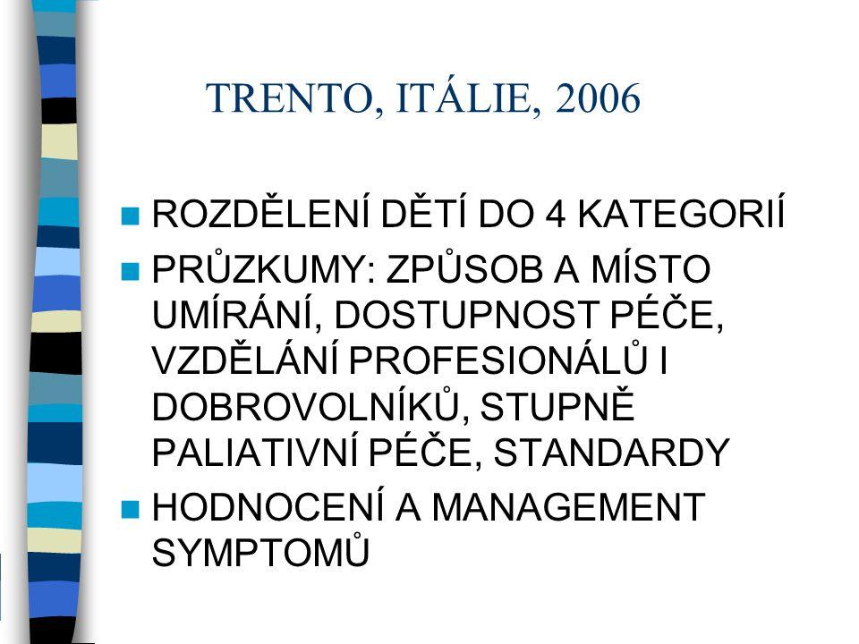TRENTO, ITÁLIE, 2006 ROZDĚLENÍ DĚTÍ DO 4 KATEGORIÍ