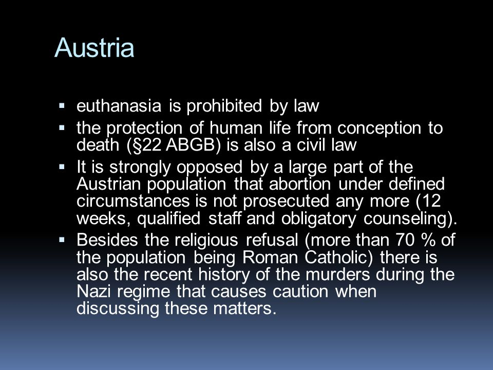 Austria euthanasia is prohibited by law
