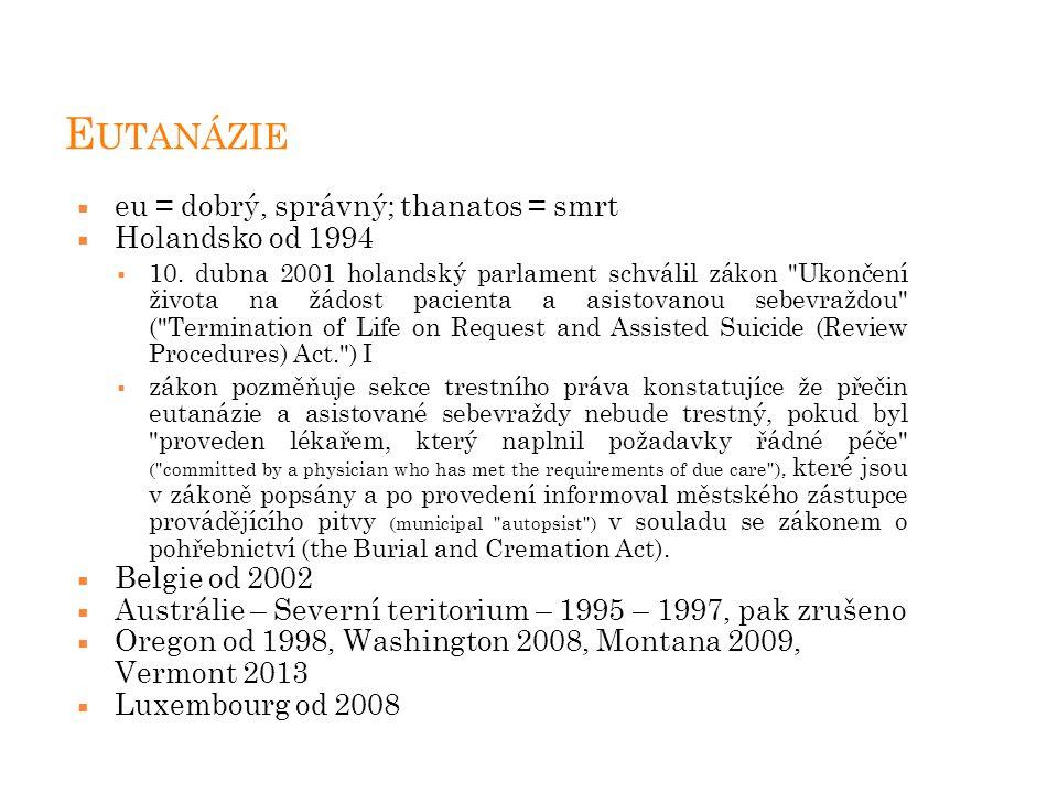 Eutanázie eu = dobrý, správný; thanatos = smrt Holandsko od 1994