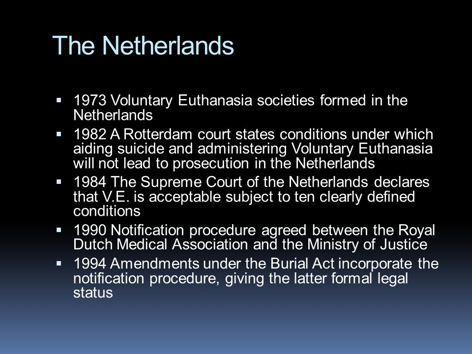 The Netherlands 1973 Voluntary Euthanasia societies formed in the Netherlands.