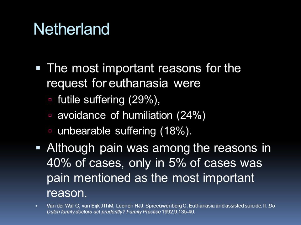 Netherland The most important reasons for the request for euthanasia were. futile suffering (29%),