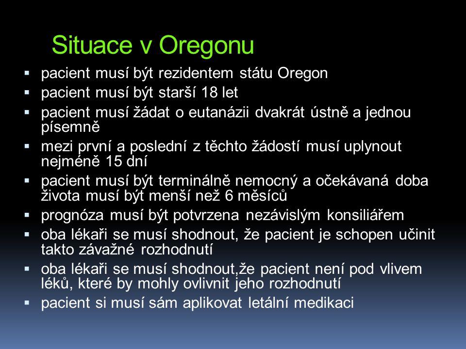 Situace v Oregonu pacient musí být rezidentem státu Oregon