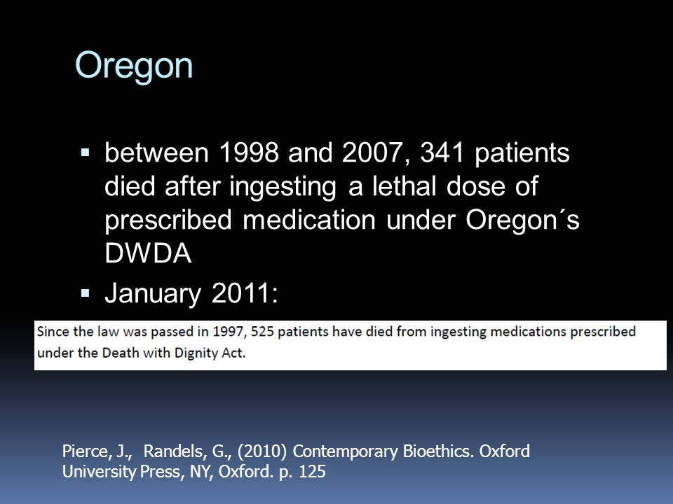 Oregon between 1998 and 2007, 341 patients died after ingesting a lethal dose of prescribed medication under Oregon´s DWDA.