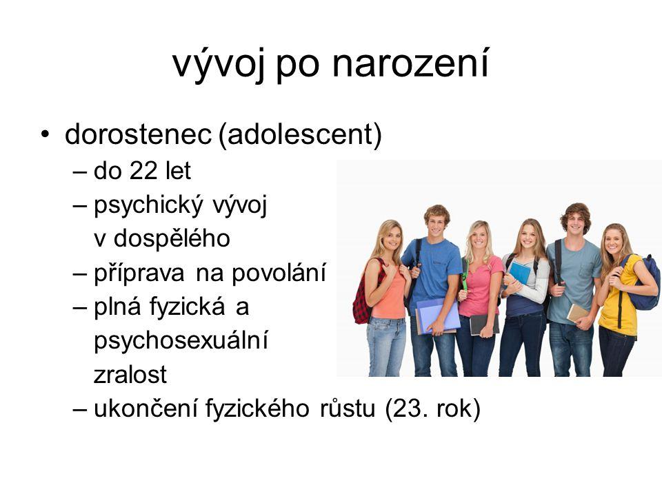 vývoj po narození dorostenec (adolescent) do 22 let psychický vývoj