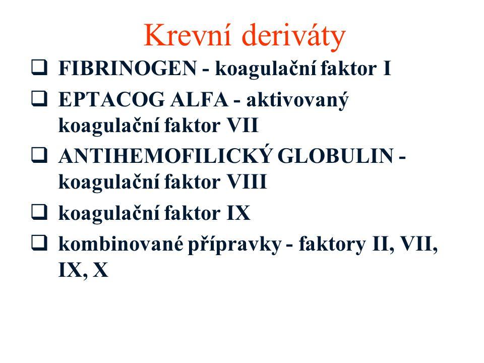 Krevní deriváty FIBRINOGEN - koagulační faktor I