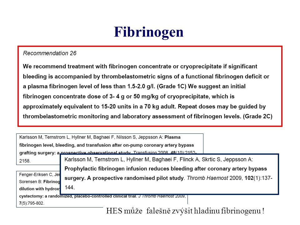 Fibrinogen HES může falešně zvýšit hladinu fibrinogenu !