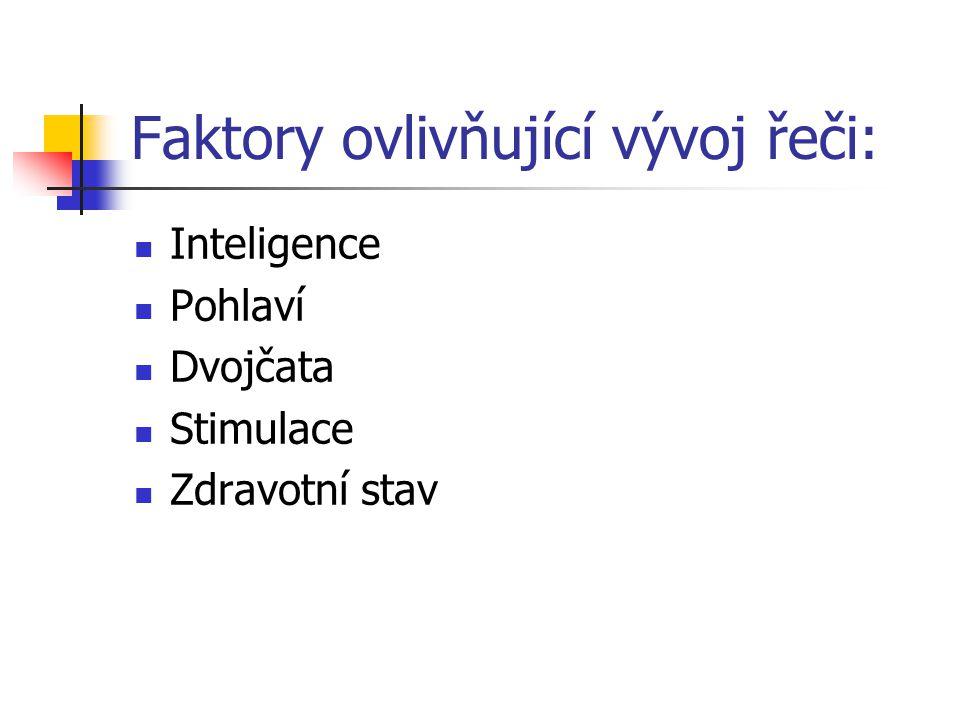 Faktory ovlivňující vývoj řeči: