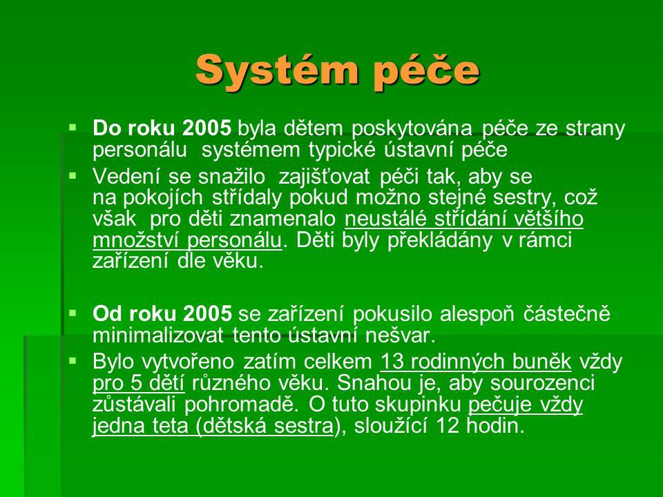 Systém péče Do roku 2005 byla dětem poskytována péče ze strany personálu systémem typické ústavní péče.