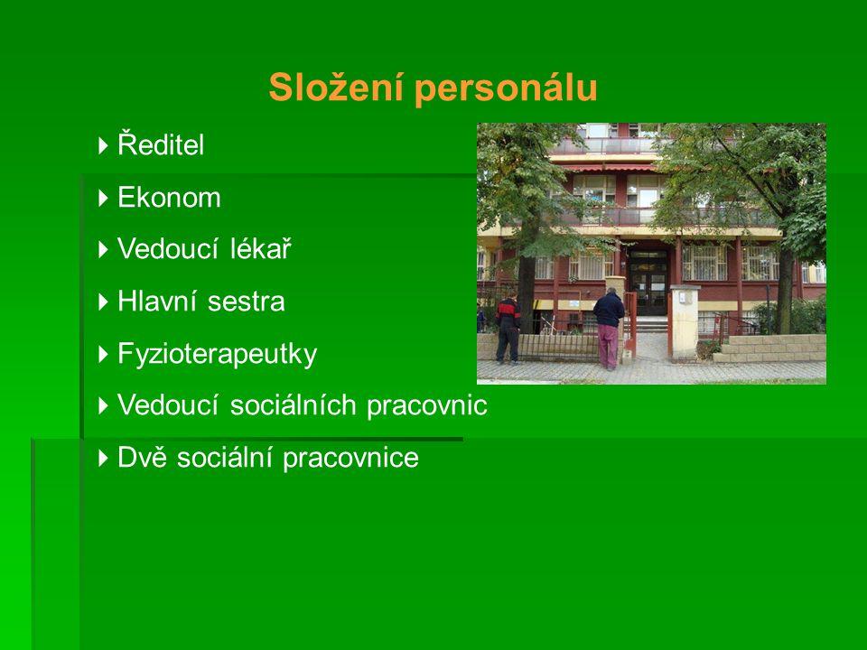 Složení personálu Ředitel Ekonom Vedoucí lékař Hlavní sestra