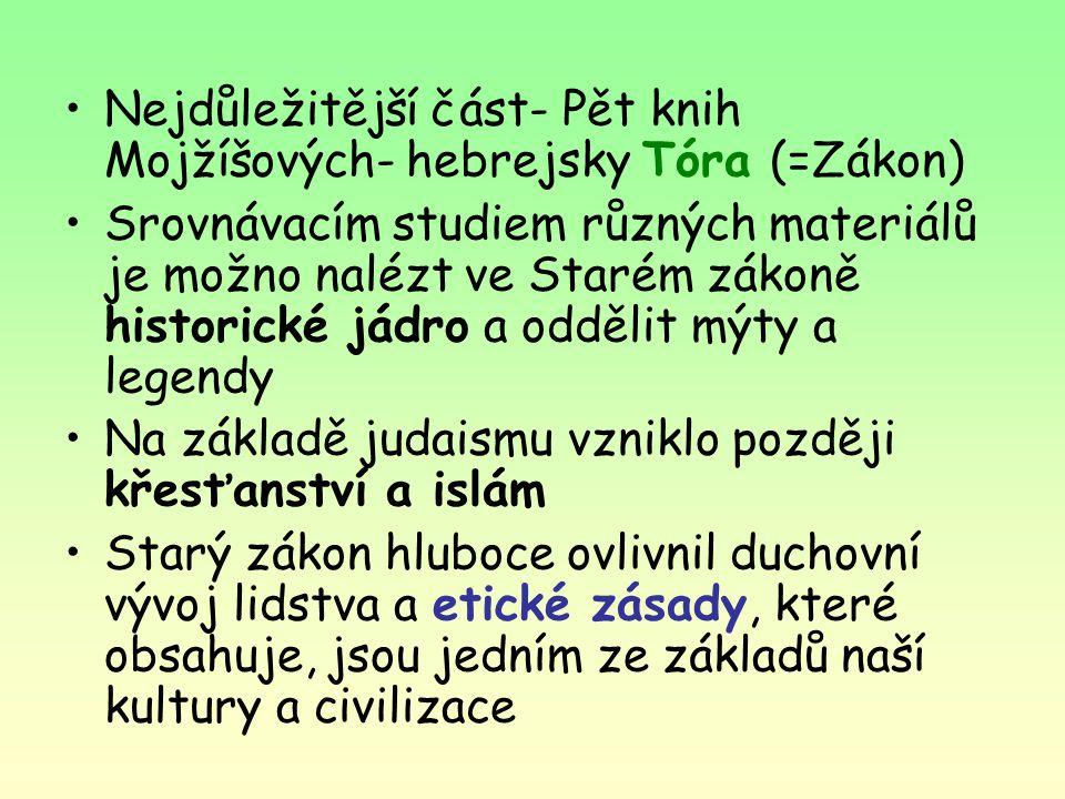 Nejdůležitější část- Pět knih Mojžíšových- hebrejsky Tóra (=Zákon)