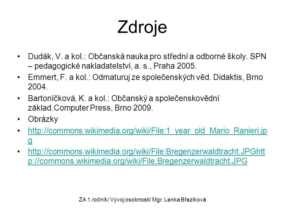 ZA 1.ročník/ Vývoj osobnosti/ Mgr. Lenka Březíková