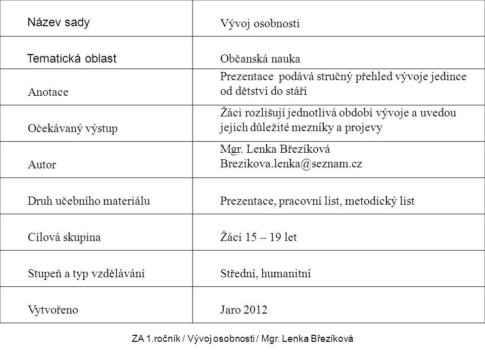 ZA 1.ročník / Vývoj osobnosti / Mgr. Lenka Březíková